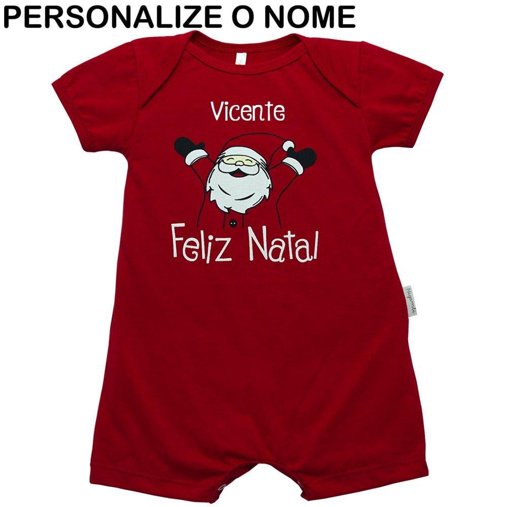 Macacão Curto Natal Personalizado Nigambi Vermelho