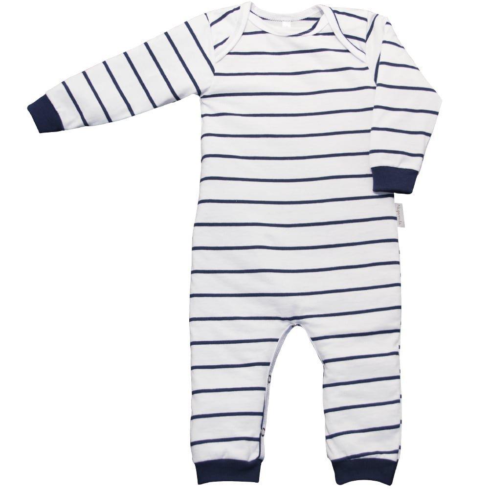 Pijama em Malha Macacão Longo Nigambi Listrado Branco e Marinho