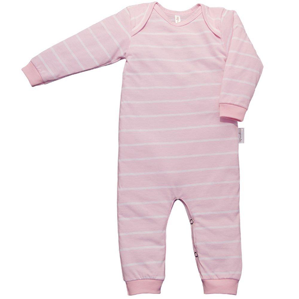 Pijama em Malha Macacão Longo Nigambi Listrado Rosa