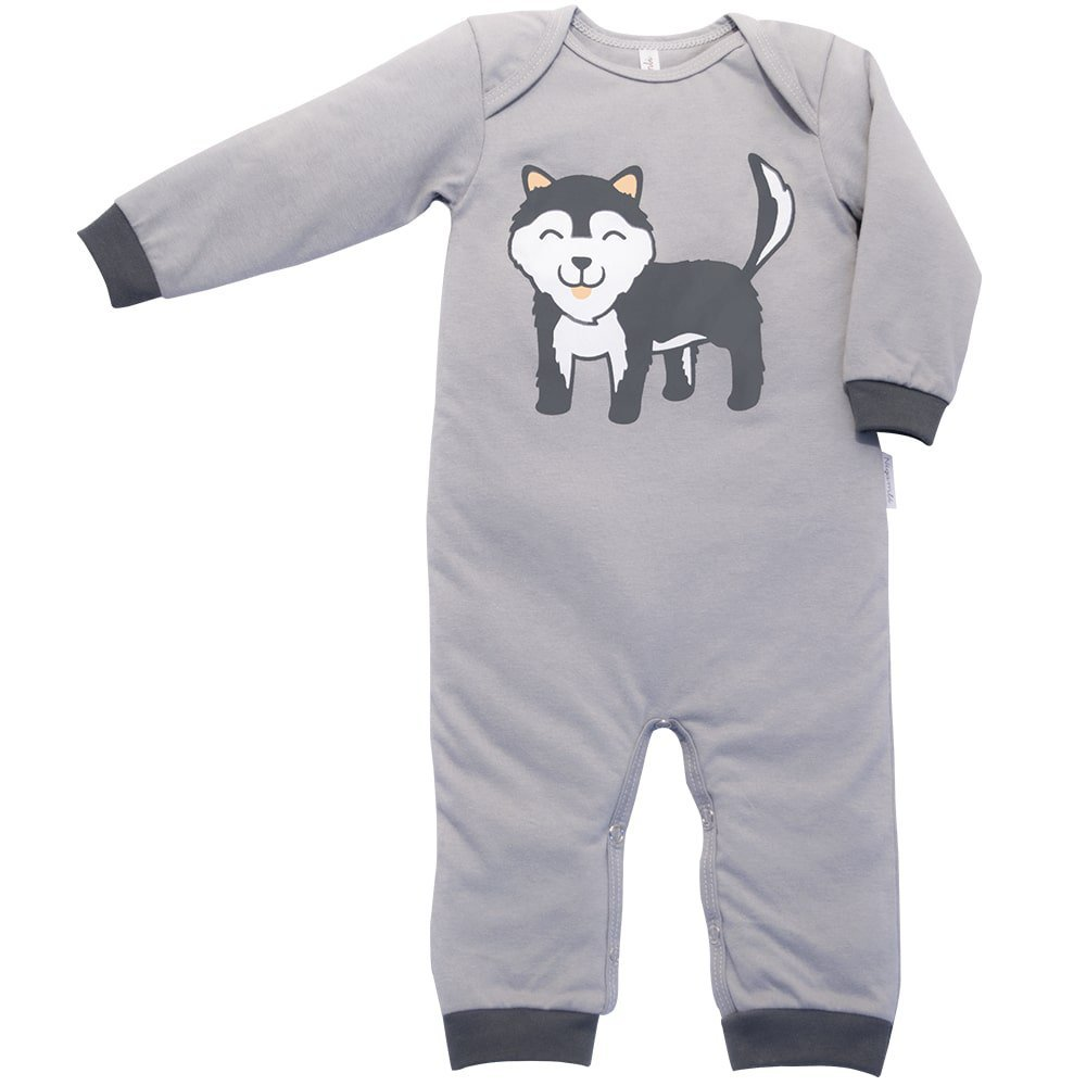 Pijama em Malha Macacão Longo Nigambi Lobinho Cinza