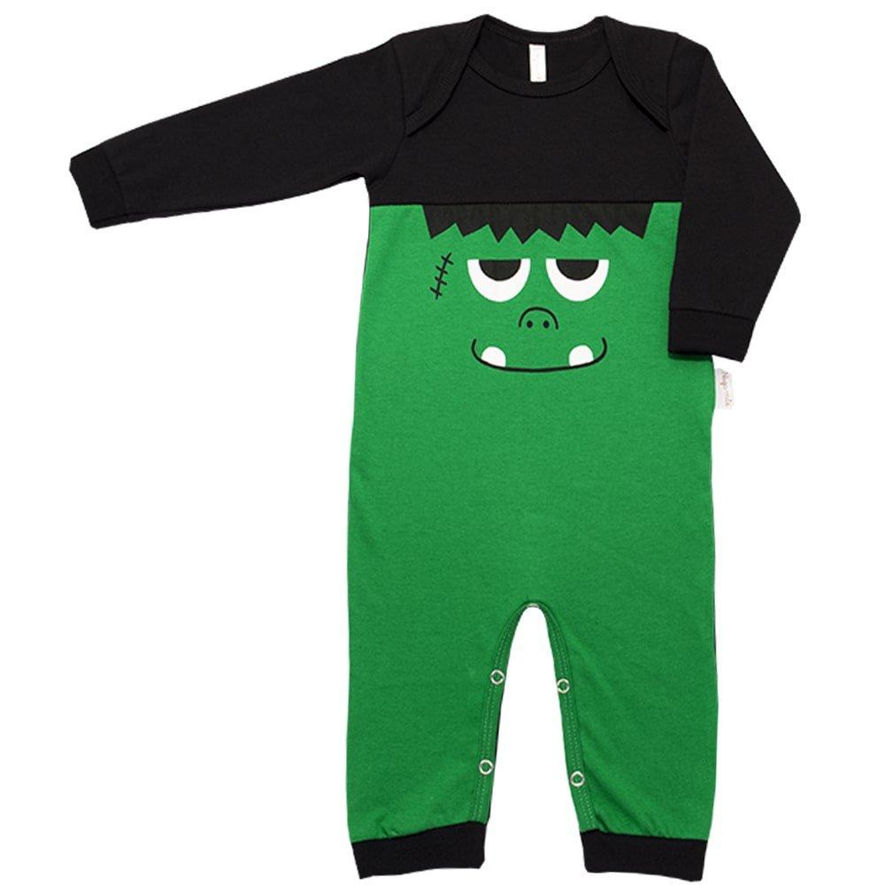 Pijama em Malha Macacão Longo Nigambi Monstrinho Verde