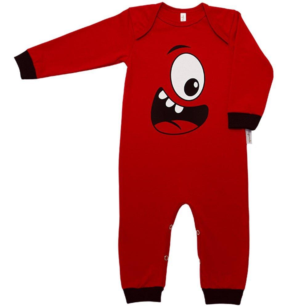 Pijama em Malha Macacão Longo Nigambi Monstrinho Vermelho