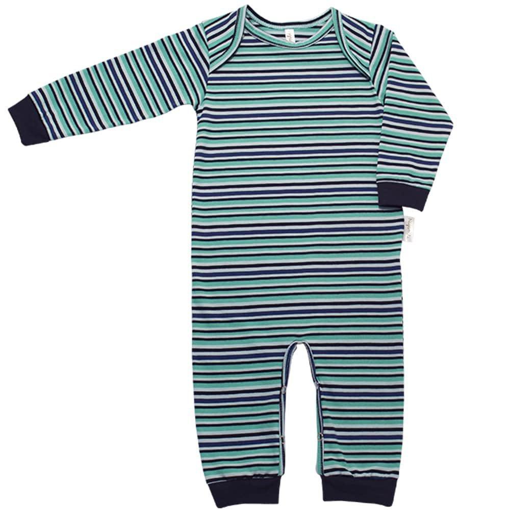 Pijama em Malha Macacão Longo Nigambi Listrado Azul e Marinho