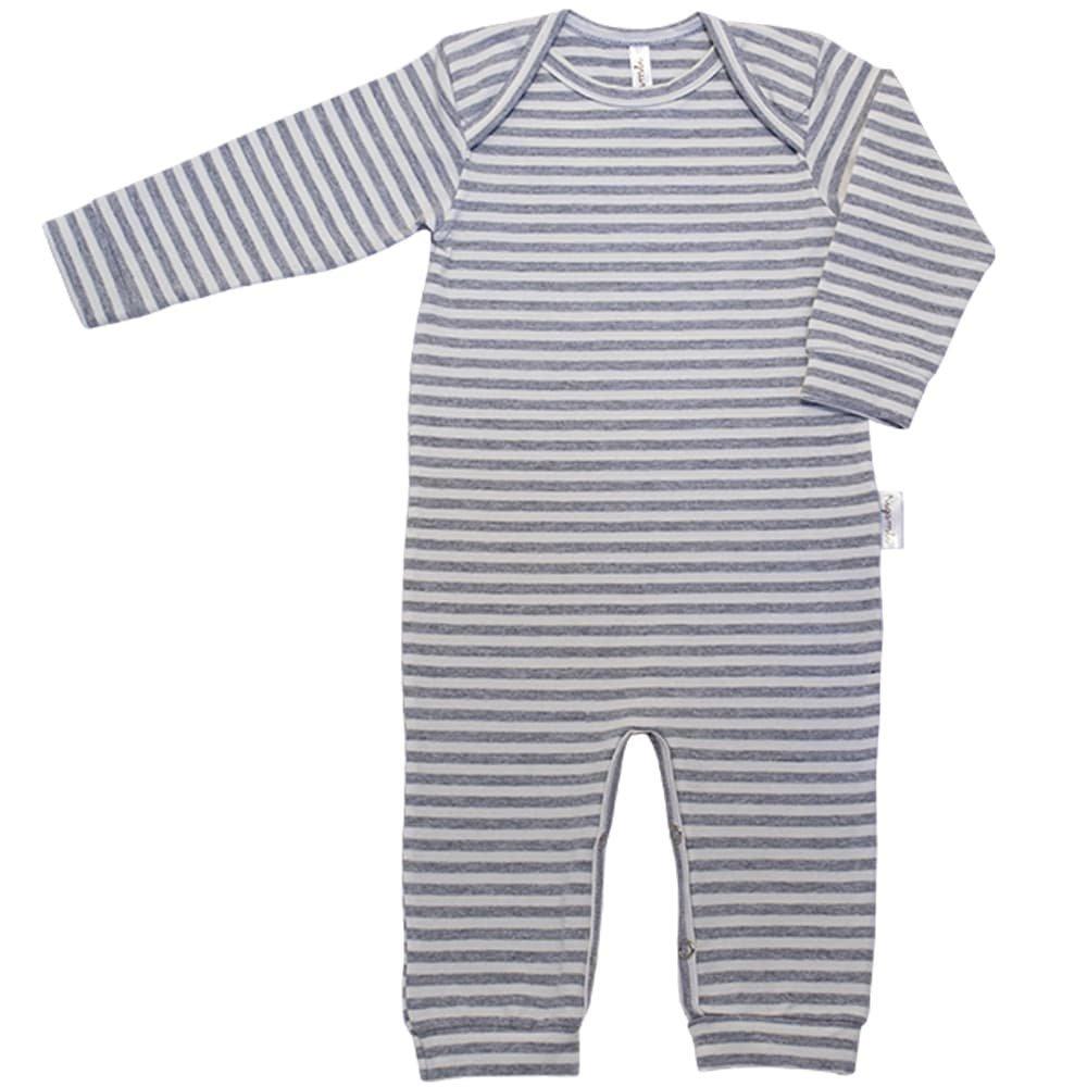 Pijama em Cotton Macacão Longo Nigambi Listrado Mescla e Branco