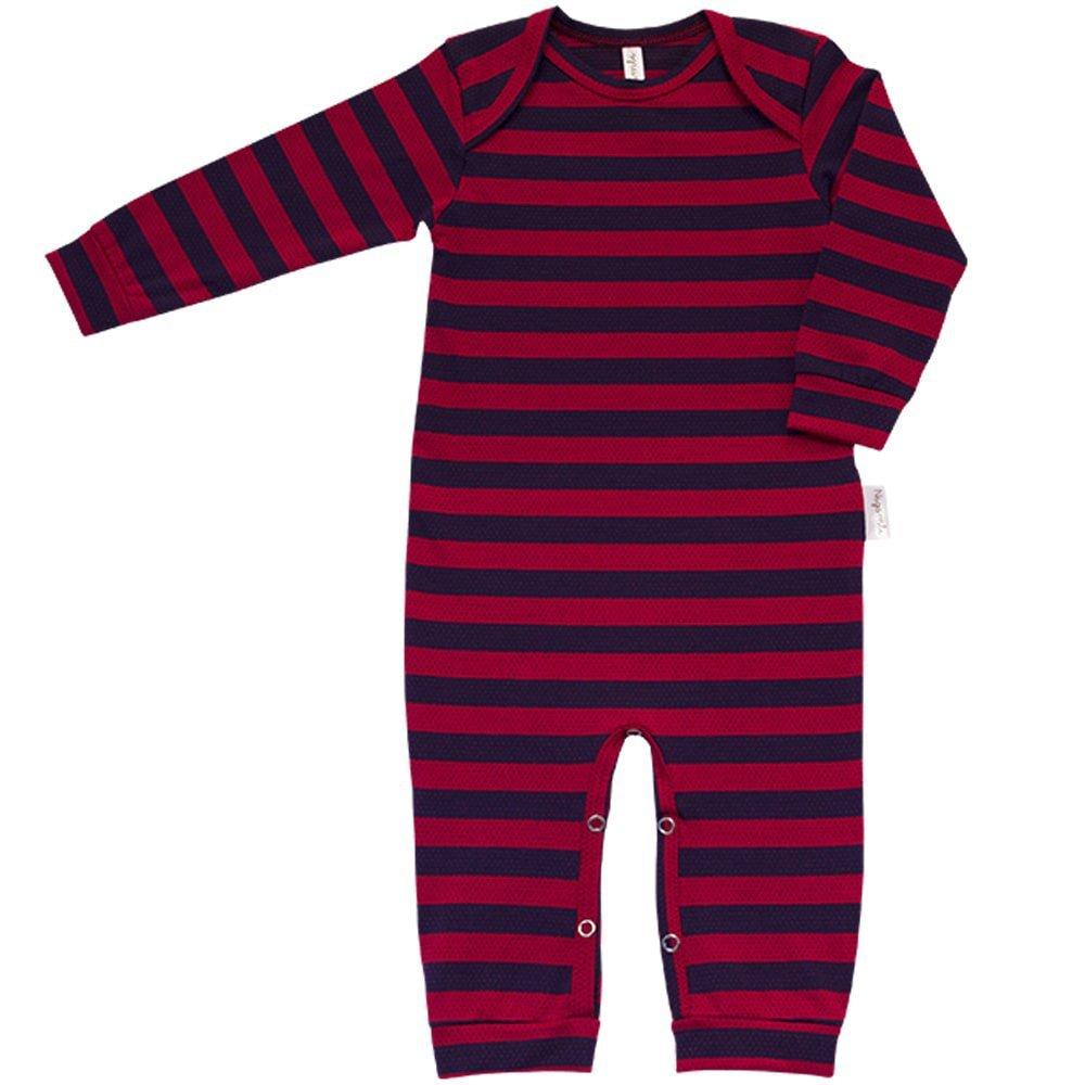 Pijama em Cotton Macacão Longo Nigambi Listrado Marinho e Vermelho