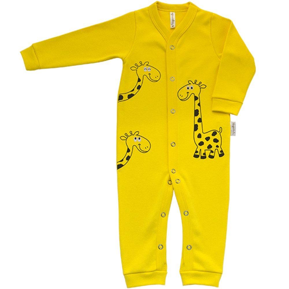 Macacão Longo Aberto Suedine Nigambi Girafinha Amarelo