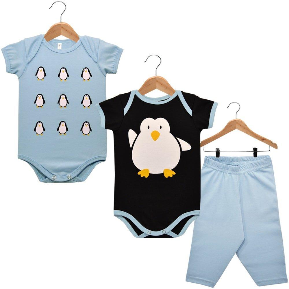 Kit 2 Bodies Manga Curta e Calça Nigambi Pinguim Preto e Azul