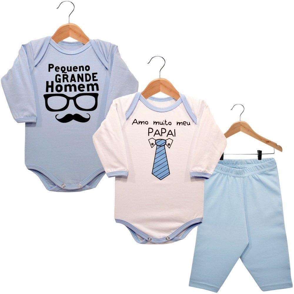 Kit 2 Bodies Manga Longa 1 Calça Amo Muito Meu Papai e Pequeno Grande Homem Nigambi Branco Azul Bebê