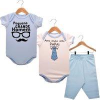 Kit 2 Bodies Manga Curta 1 Calça Amo Muito Meu Papai e Pequeno Grande Homem Nigambi Branco Azul Bebê