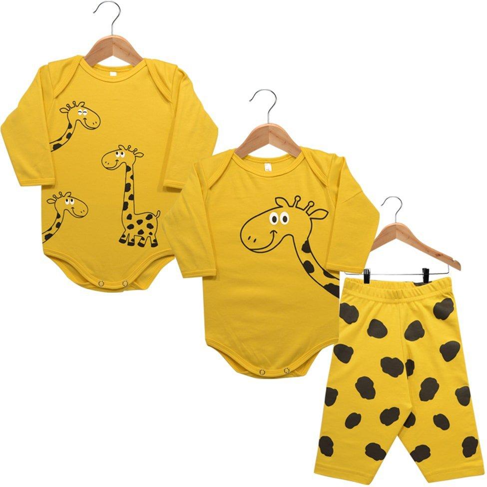 Kit 2 Bodies Manga Longa e Calça Suedine Nigambi Girafa Amarelo