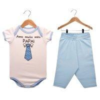 Kit Body Manga Curta e Calça Nigambi Amo Meu Papai Branco e Azul Bebê