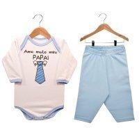 Kit Body Manga Longa e Calça Amo Muito Meu Papai Nigambi Branco e Azul Bebê