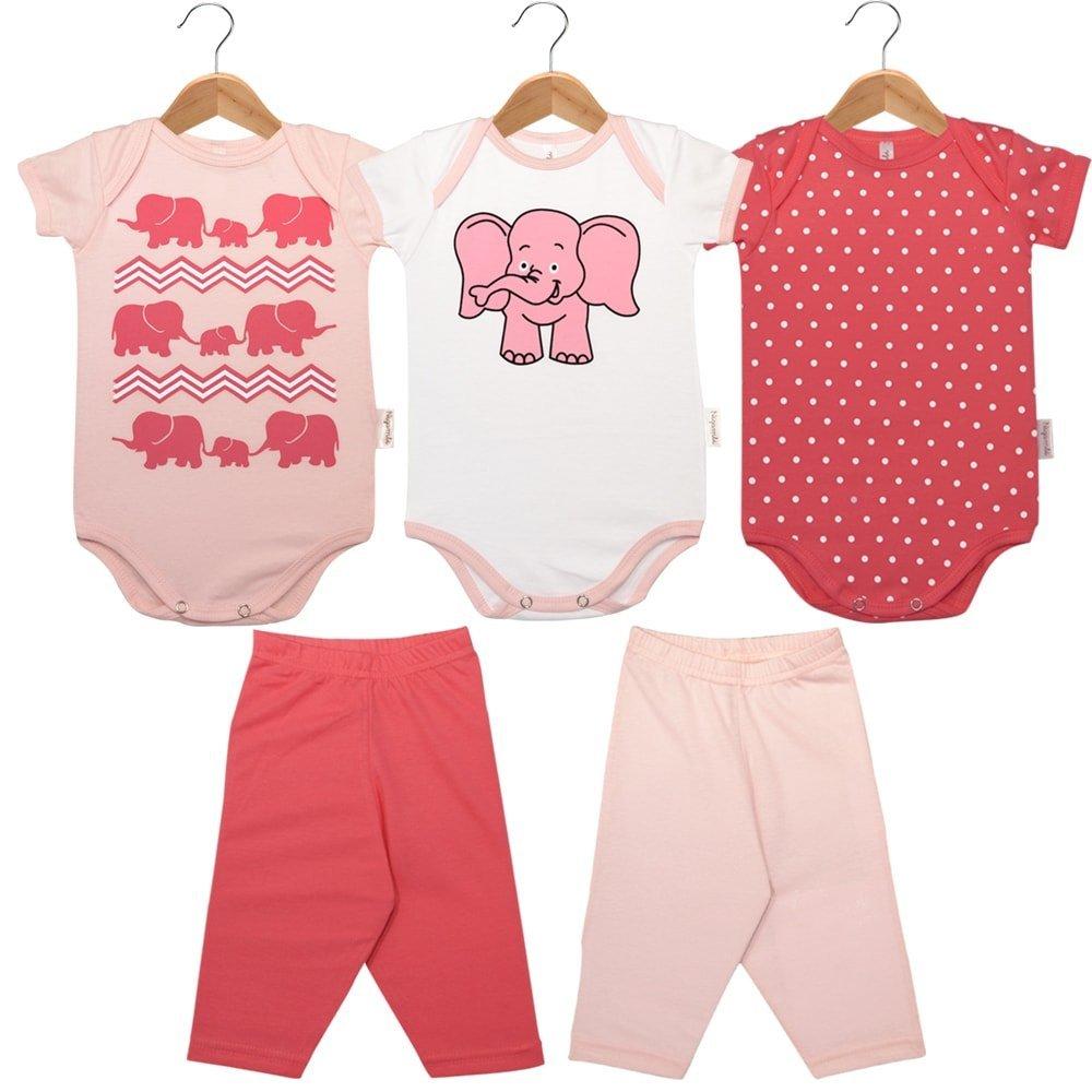 Kit Body 5 Peças - 3 Bodies Manga Curta e 2 Calças Elefante Rosa e Branco
