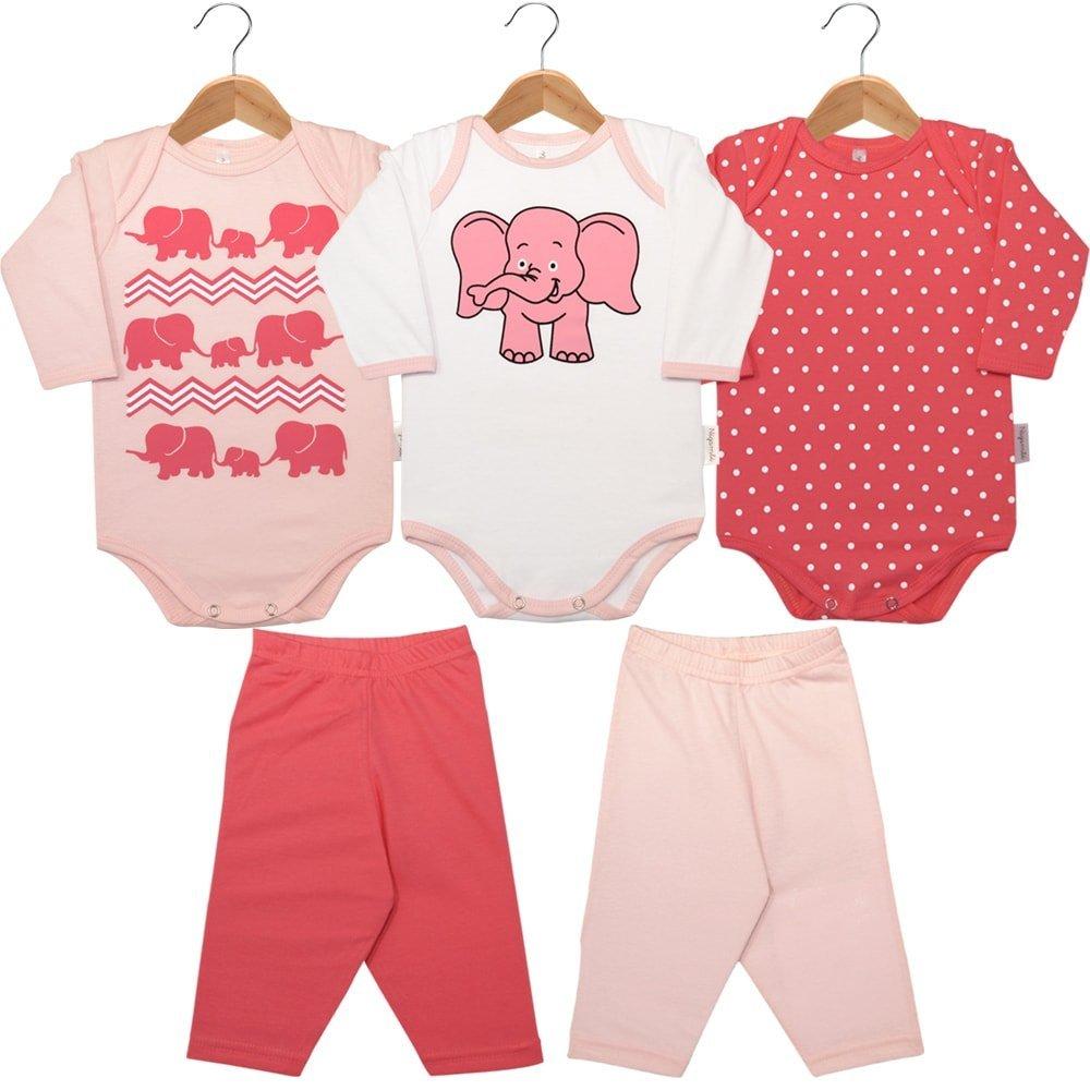 Kit Body 5 Peças - 3 Bodies Manga Longa e 2 Calças Elefante Rosa e Branco