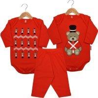 Kit 2 Bodies Bebê Manga Longa e 1 Calça Ursinho Guarda Nigambi Vermelho