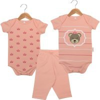 Kit Body em Suedine - 2 Bodies Bebê Manga Curta e 1 Calça Ursinha Princesa Nigambi Rosa