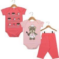 Kit Body - 2 Bodies Bebê Manga Curta e 1 Calça Ursinha Confeiteira Nigambi Rosa e Pink