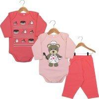 Kit Body - 2 Bodies Bebê Manga Longa e 1 Calça Ursinha Confeiteira Nigambi Rosa e Pink