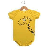 Body Manga Curta Suedine Nigambi Girafa Amarelo