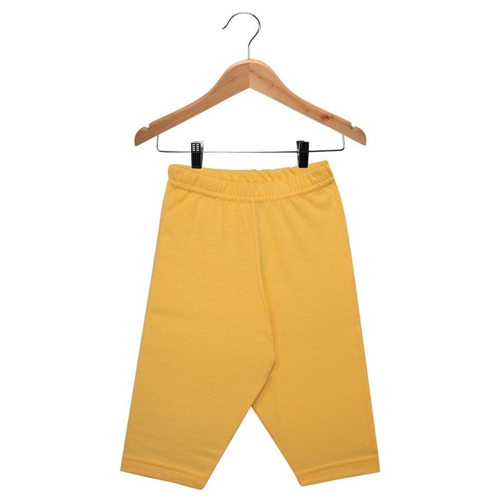 Calça Culote em Meia Malha 100% Algodão Nigambi Amarelo