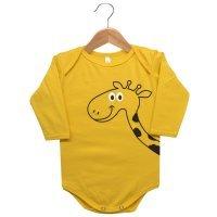 Body Manga Longa Suedine Nigambi Girafa Amarelo