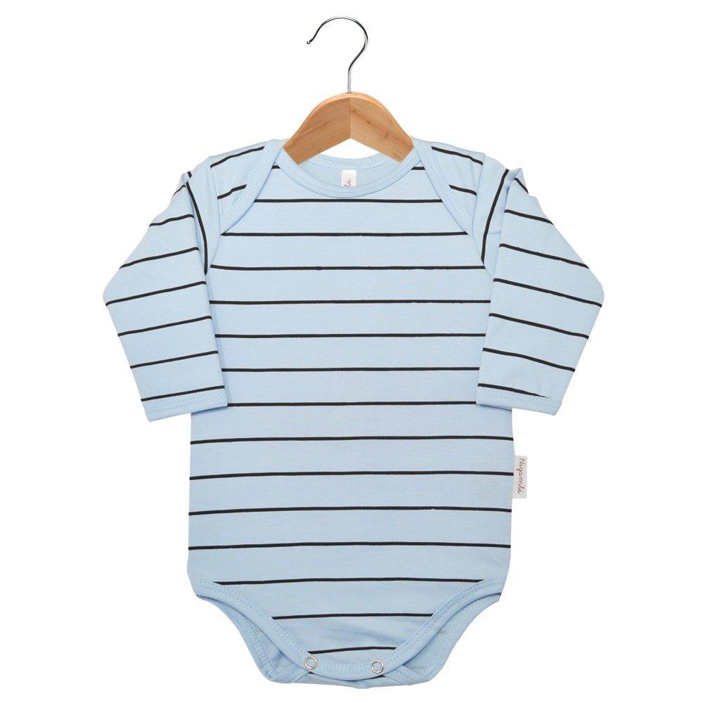Body Manga Longa Listrado Nigambi Azul Bebê