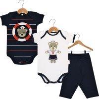 Kit Body em Suedine Nigambi - 2 Bodies Bebê Manga Curta e 1 Calça Ursinha Marinheira