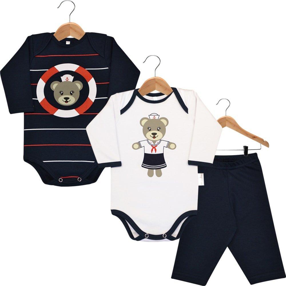 Kit Body em Suedine Nigambi - 2 Bodies Bebê Manga Longa e 1 Calça Ursinha Marinheira