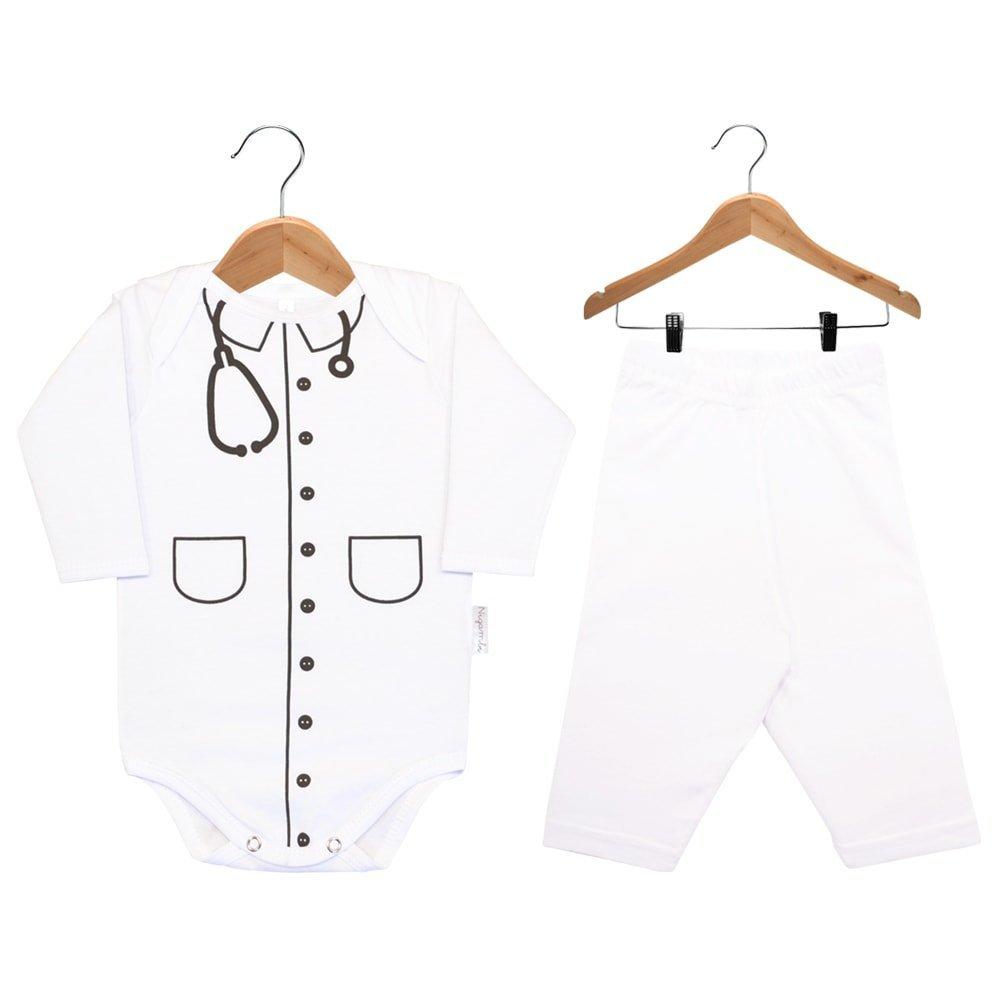 Kit Body Manga Longa e Calça Nigambi Jaleco Médico Branco