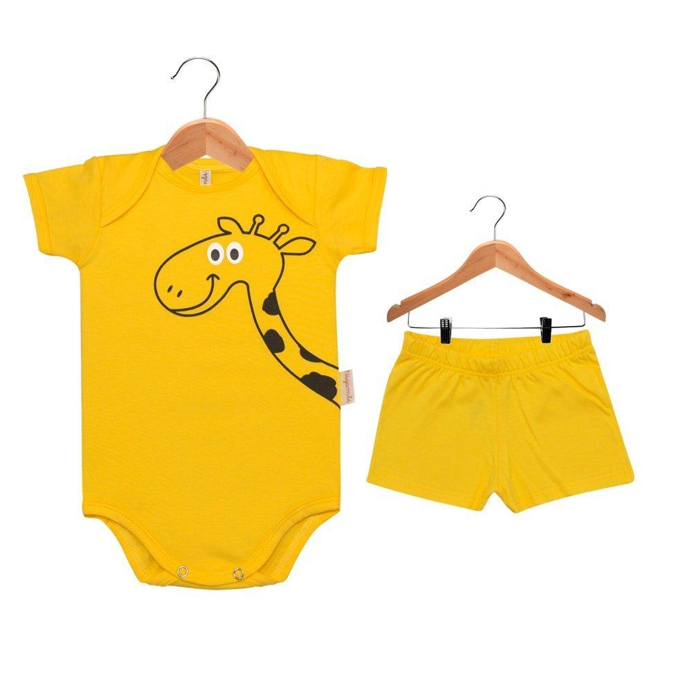Kit Body Manga Curta e Short Nigambi Girafinha Amarelo