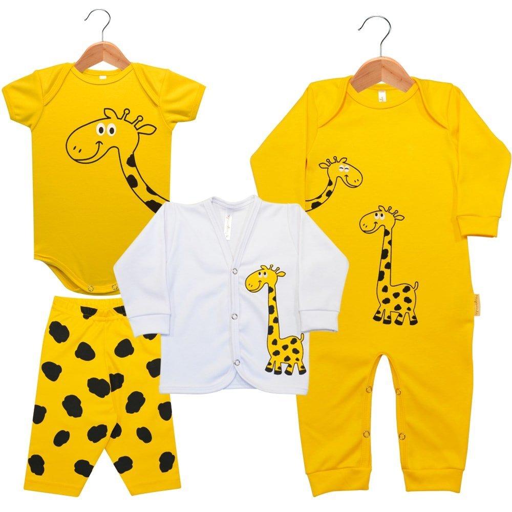 Kit Macacão Longo, Cardigan Longo, Body Manga Curta e Calça Nigambi Girafinha Amarelo