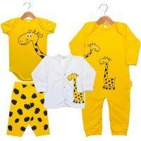 Kit 4 Peças em Suedine - Macacão Longo Cardigan Longo Body Manga Curta e Calça Girafinha Nigambi