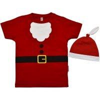 Kit Gorro e Camiseta Primeiros Passos Manga Curta Nigambi Papai Noel Natal Vermelho