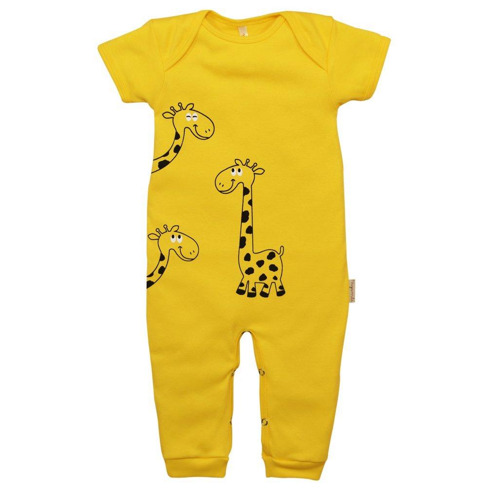 Macacão Longo Manga Curta Suedine Nigambi Girafinha Amarelo