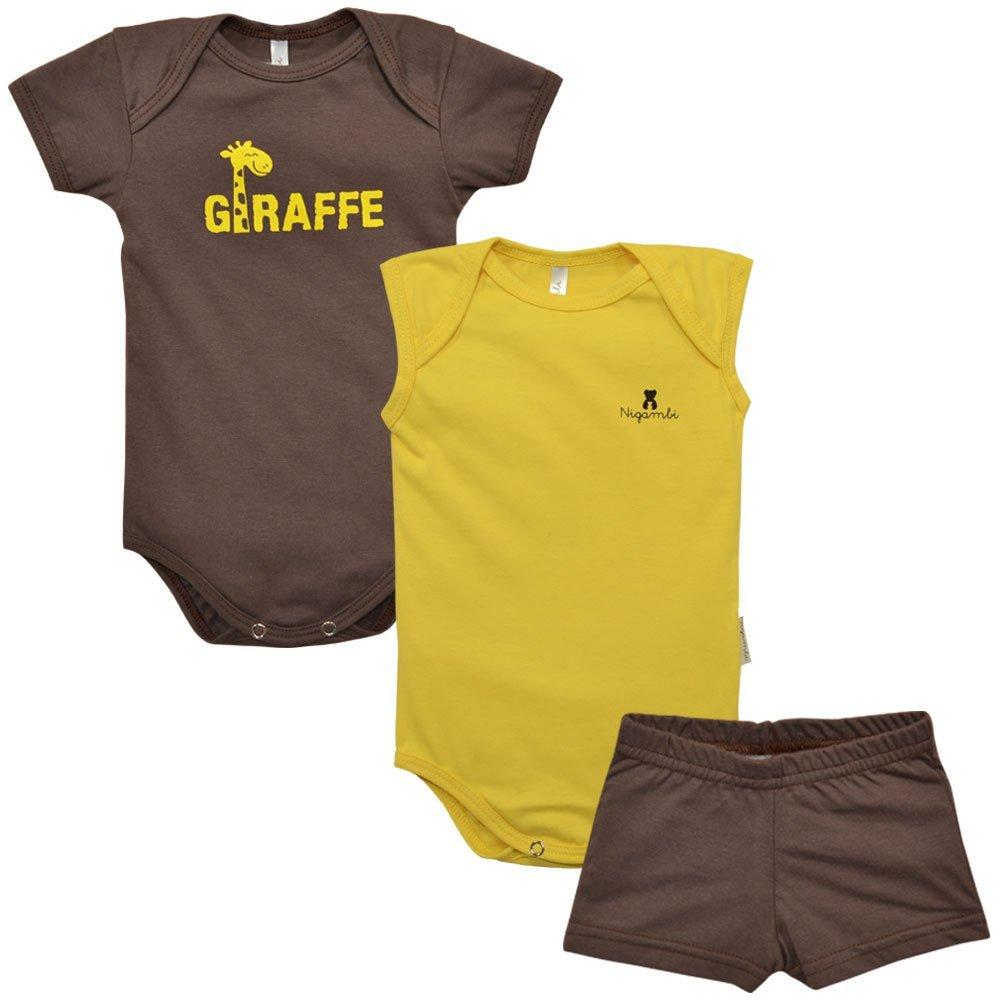 Kit Body Manga Curta, Body Regata e Short Nigambi Giraffe Marrom e Amarelo