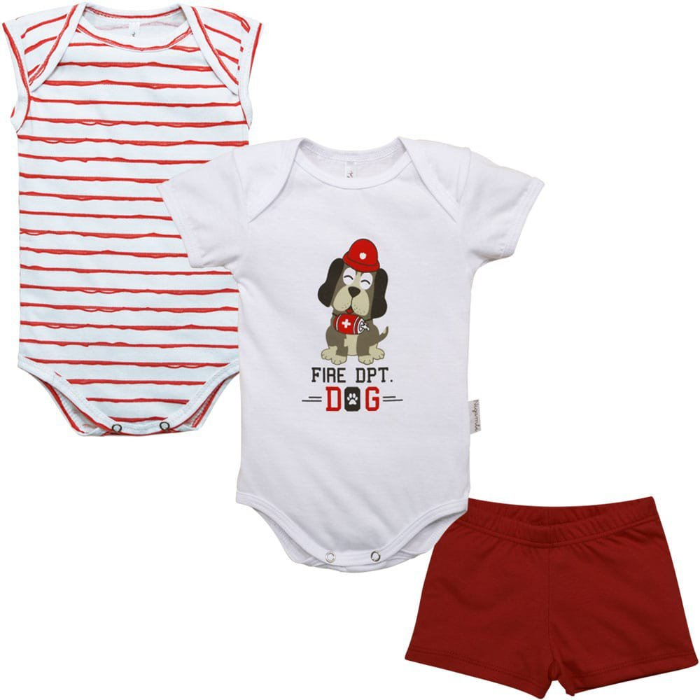 Kit Body Regata, Body Manga Curta e Short Nigambi Cachorro Bombeiro
