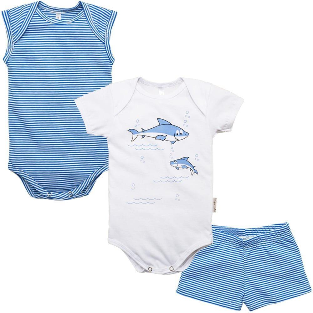 Kit Body Regata, Body Manga Curta e Short Nigambi Tubarão Branco e Azul
