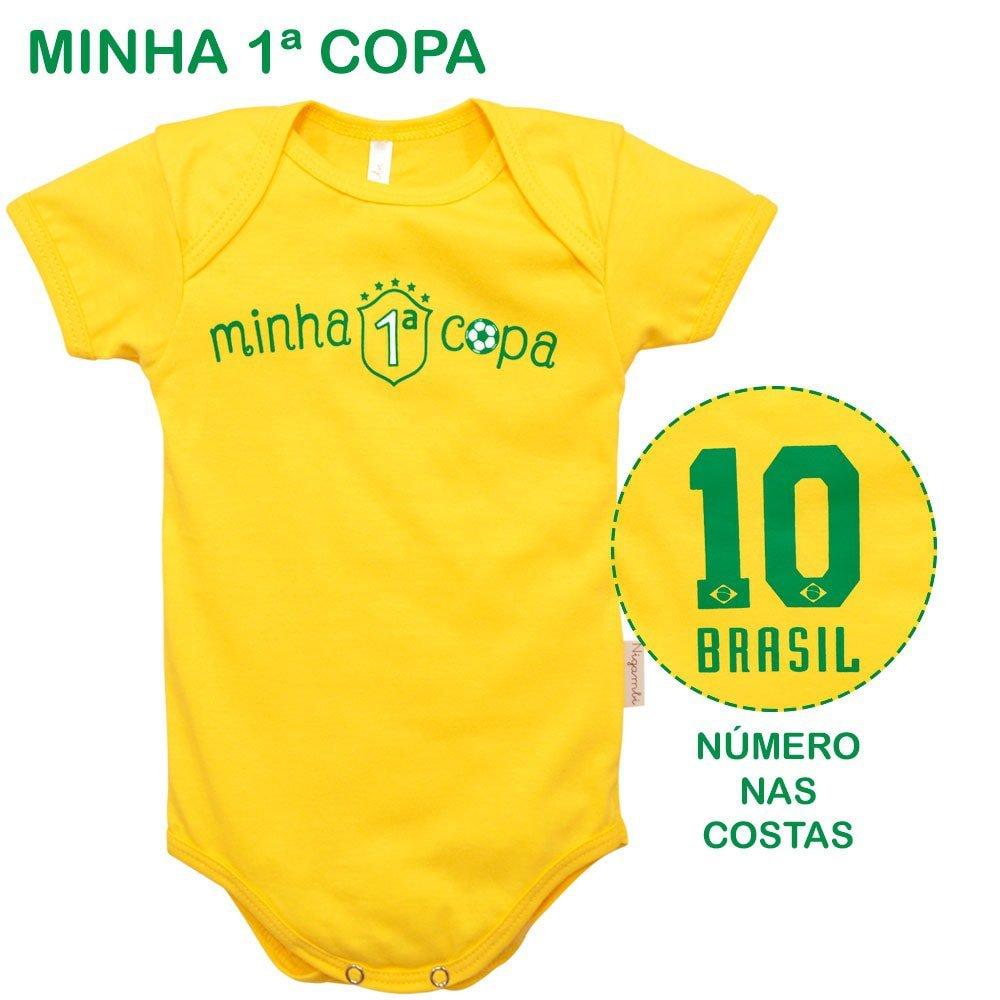 Body Manga Curta Minha 1ª Copa Nigambi Amarelo