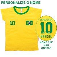 Blusa Primeiros Passos Menina Manga Curta Brasil Com Nome Personalizado Nigambi Amarelo