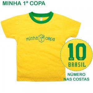 Camiseta Primeiros Passos Menino Manga Curta Minha 1ª Copa Nigambi Amarelo