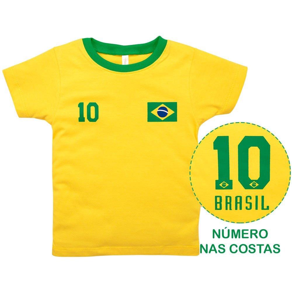 Camiseta Primeiros Passos Menino Manga Curta Brasil Nigambi Amarelo
