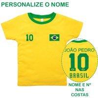 Camiseta Primeiros Passos Menino Manga Curta Brasil Com Nome Personalizado Nigambi Amarelo