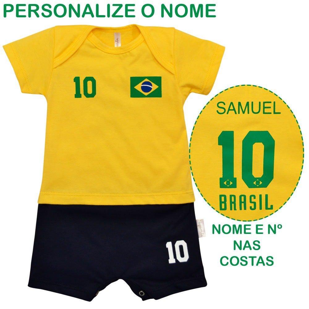 Macacão Curto Uniforme Brasil Com Nome Personalizado Nigambi Amarelo e Marinho