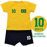 Macacão Curto Uniforme Brasil Nigambi Amarelo e Marinho
