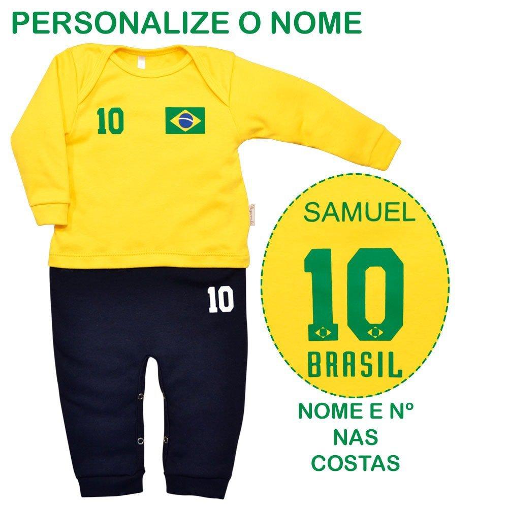 Macacão Longo em Suedine Uniforme Brasil Com Nome Personalizado Nigambi Amarelo e Marinho