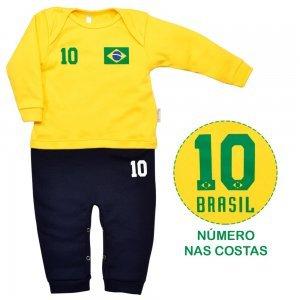 Macacão Longo em Suedine Uniforme Brasil Nigambi Amarelo e Marinho