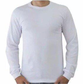 Camiseta lisa branca sublimação MANGA LONGA 100% PES ADULTO  P-M-G-GG