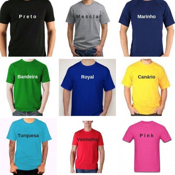 7e741df53 Camiseta Lisa Cores 100% algodão Fio 30 Penteado P-M-G-GG