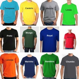 Camiseta Lisa Cores PV Malha Fria  67% Poliéster 33% Viscose P-M-G-GG