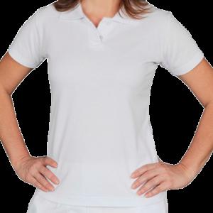 Pólo Branca Feminina Piquê PA 50% Algodão 50% Poliéster P-M-G-GG